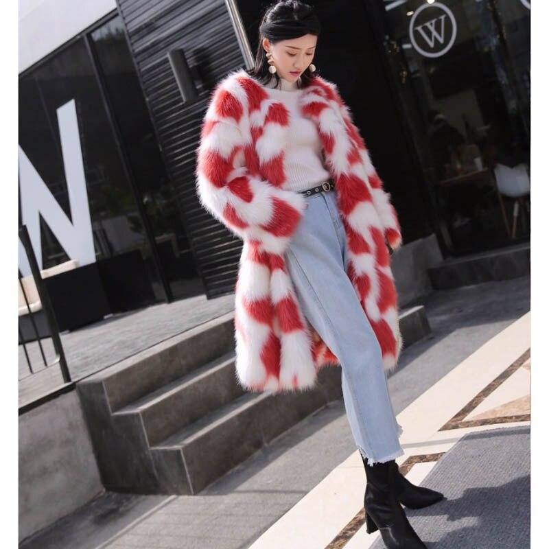 Imitation Long Femmes Lâche D'hiver Mode Couleur Automne Rouge De Manteau Color Survêtement Picture Folobe Faux 2018 Renard Fourrure Blanc Contraste uTwXOiPZk