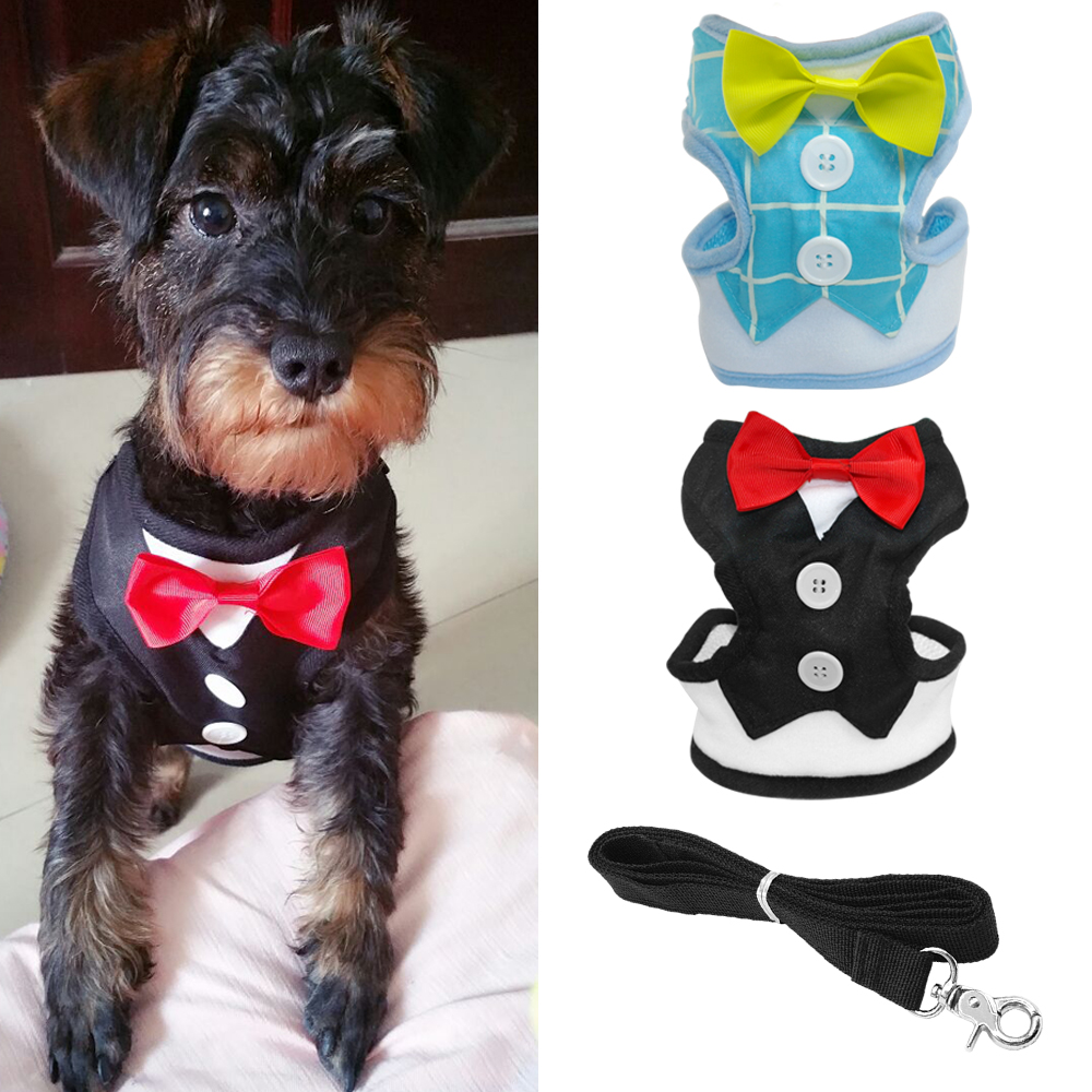 2016 New Fashion Red Bowtie Tuxedo Dog Harness & Leash Set Easy Walk Harness Mesh Vest For Boy Dogs Black Blue Colors S M L Size