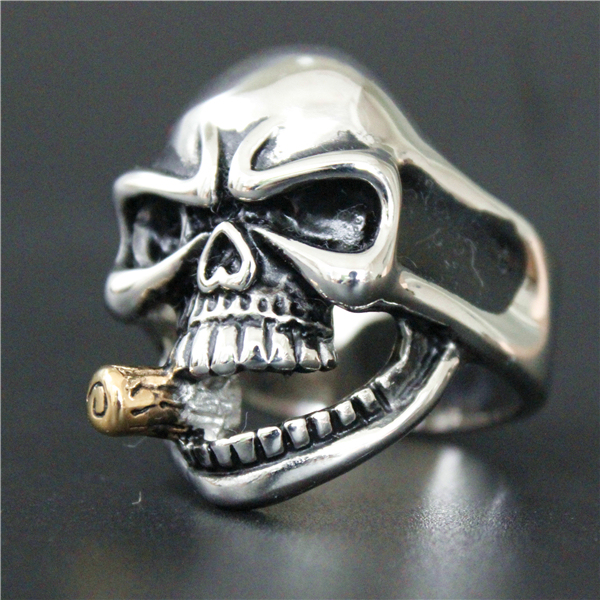 2017 Cool Skull Bullet Ring 316L Stainless Steel Mens Silver Polishing Golden Bullet Skull Ring