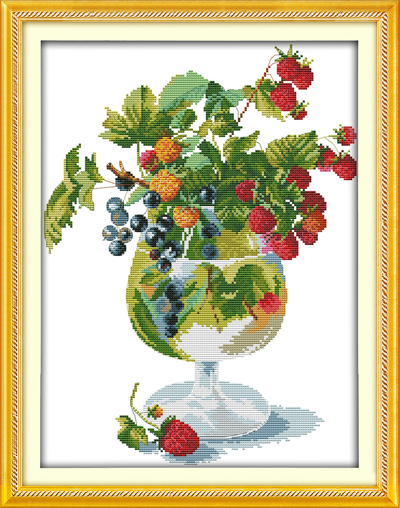 Strawberry And Wine Glass Counted Cross Stitch Dmc Cotton