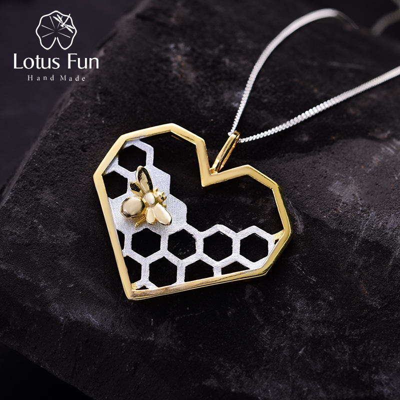 Lotus Fun Real 925 Sterling Silver Handmade Fine Jewelry Honeycomb Home Guard Love Heart Shape Pendant without Chain for Women love heart opening wings shape sweater chain