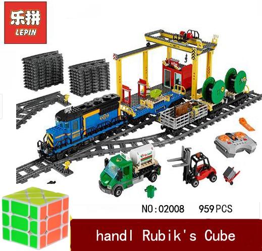 lepin 02008 City Series The Cargo Train Set Building Blocks Bricks 60052 RC Train Kids Educational Toy Gift City Lepin