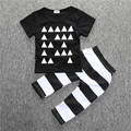 New style fashion baby boys cotton clothing 2pcs/set personalized Geometric printing T-shirt+Striped Pants baby boutique clothin