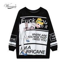 Women Harajuku Sweatshirts Unique Streetwear Ladies Letter print mesh Patchwork Tops Punk Geek Rock Clothing B-142