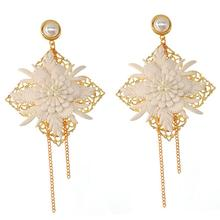 Exaggerated Big Leather Flower Baroque Drop Earring Jewelry European Fashion Earrings for Women New year Gift