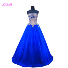 2018 Real Image Sweetheart A Line Tulle Appliques Royal Blue Long Prom Dresses Lace Up Sleeveless Beaded Rhinestones Party Dress