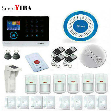 SmartYIBA Voice LCD WiFi GSM Home Security Alarm System RFID Touch Wireless SMS Call App Alert Android iOS Burglar Alarm System