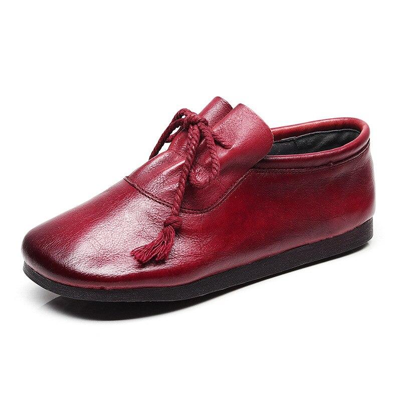 Mocassins Vert Confortable Plates Femme Doux Casual rouge Véritable Appartements Automne Chaussures 2018 Firs En Mode Cuir Nouvelle Rétro A8qaO