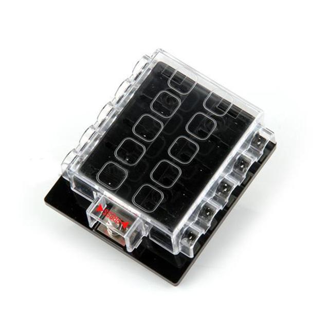 Venta caliente de la nueva 10 Way Circuit Car Automoción ATC ATO Hoja Cuadro Titular de Bloque de Fusibles Portafusibles 32 V