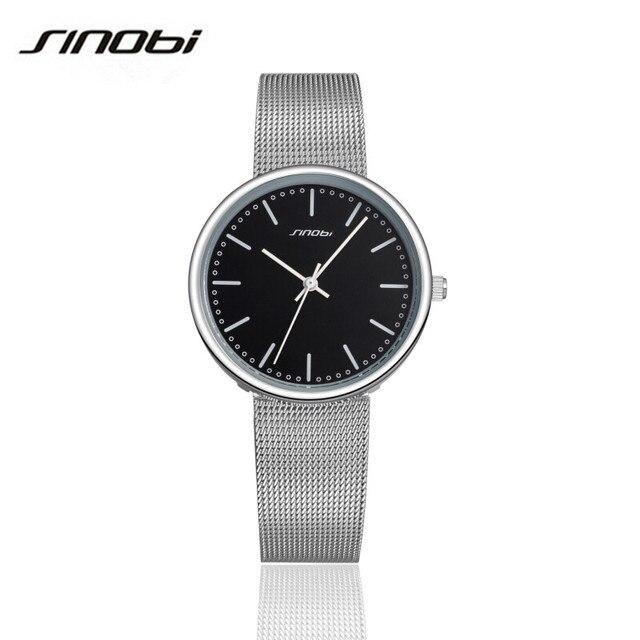 SINOBI 2016 Famous Brand Luxury Women Watch Man Watch Lovers Quartz Stainless Steel Watch Silver Wristwatch Japan Movement AA161
