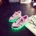 2017 nuevos estilos de los niños de carga usb led light shoe soft net respiro casual boy girl antideslizante luminosa infantiles inferior shoes