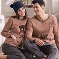 Autumn Lovers 100% Cotton Sleepwear Male's Or Female's Long-sleeve Cartoon Bear Cotton Lounge 100% Spring And Autumn Set