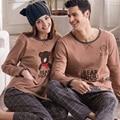 Autumn Lovers 100% Cotton Sleepwear Male's Or Female's Long-sleeve Cartoon Bear Cotton Lounge 100% Spring And Autumn Set
