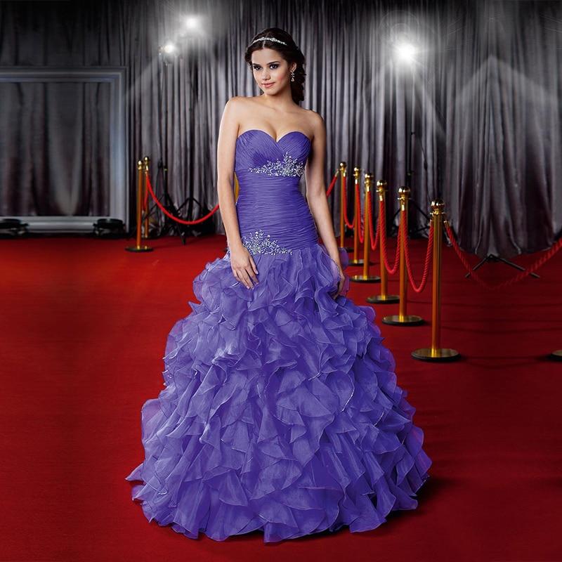 New Arrival Beaded Puffy Ruffles Prom Dress Mermaid Style ...