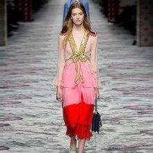 BOHO Летнее сексуальное длинное платье с глубоким v-образным вырезом для женщин роскошное подиумное платье с блестками вышивка туники с оборками многослойное шифоновое платье одежда