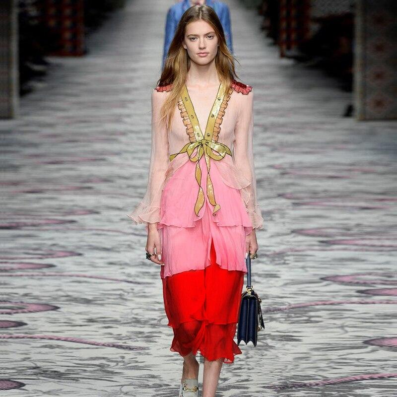 Collection 2018 printemps été haute qualité Vintage bohème à manches longues Patchwork nœud en mousseline de soie robe Maxi robes