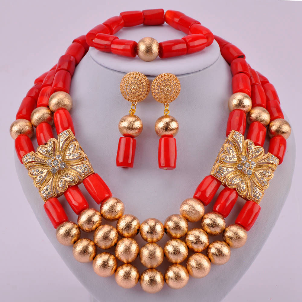 Luxury Costume Jewellry Nigerian Wedding African Beads Red Coral Jewelry Set for Women CJS13Luxury Costume Jewellry Nigerian Wedding African Beads Red Coral Jewelry Set for Women CJS13