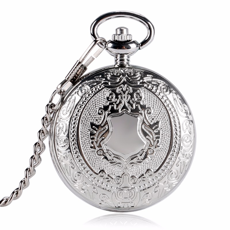 Luxury Silver Shield Pattern Round Dial Mechanical Pocket Watch Casual Antique Fob Watch For Men Women