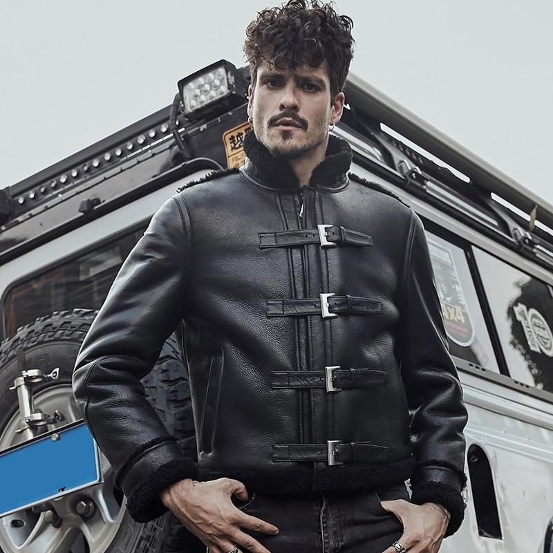B3 Cool Black Leather Jacket Men's Sheepskin Shearling ...
