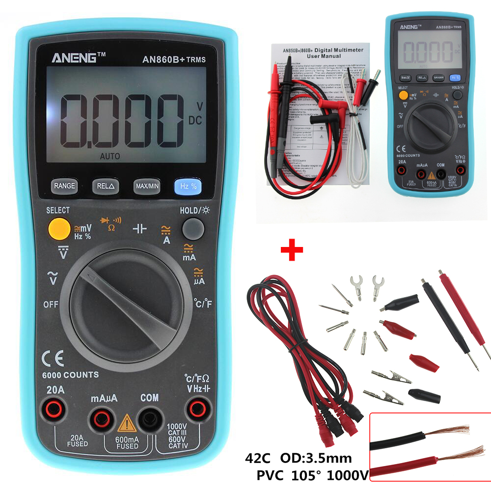 AN860B+ 6000 counts LCD Digital Multimeter DMM with NCV Detector DC/AC Voltage Current Meter and Combination Line  bside adm04 lcd digital multimeter mini pocket 2000 counts dmm dc ac voltage current meter diode tester auto ranging multimetro