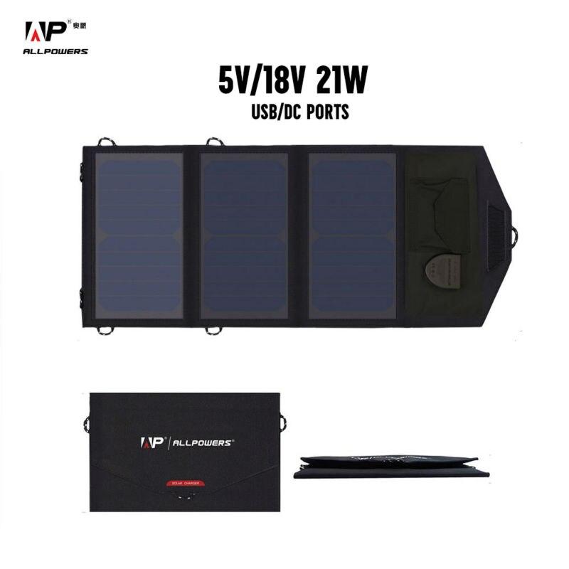 ALLPOWERS Portable 18 v 12 v 5 v 21 w Pliant Pliable Camping Panneau Solaire Chargeur Mobile Power Banque pour ordinateur portable Téléphone Batterie USB