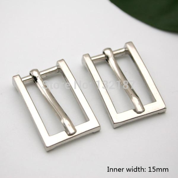 Wholesale 15mm fashion zinc alloy metal buckle with pin shinny silver nickle belt bucke high polished BK-052