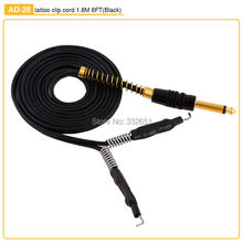 Chuse Black 1.8M 6FT Stainless Steel Phono-Plug Silicone Tattoo Clip Cord For Tattoo Machine Gun Power Supply 4 Colors to Choose