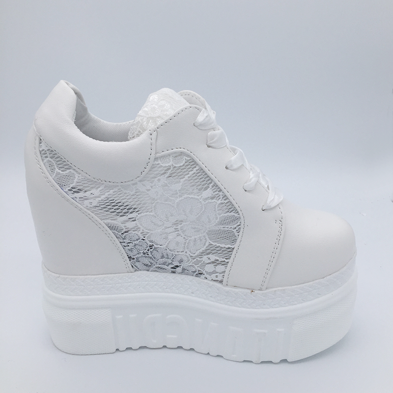 Image 3 - Womens Vulcanize Shoes Sneakers Platform 14cm Wedge Heel Silk Bow White Female Casual Shoes 2019 Spring Summer Lace ShoesWomens Vulcanize Shoes   -
