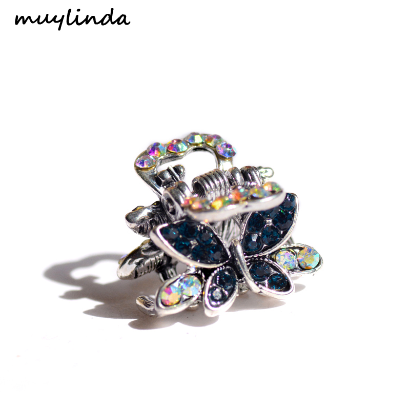 muylinda Kupu-kupu Berlian Imitasi Rambut Cakar Kepiting Perhiasan Vintage Wanita Rambut Klip Aksesoris