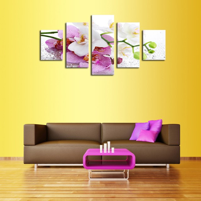 Unframed 5 Panels Nature Purple Flower Canvas Print Painting Modern ...
