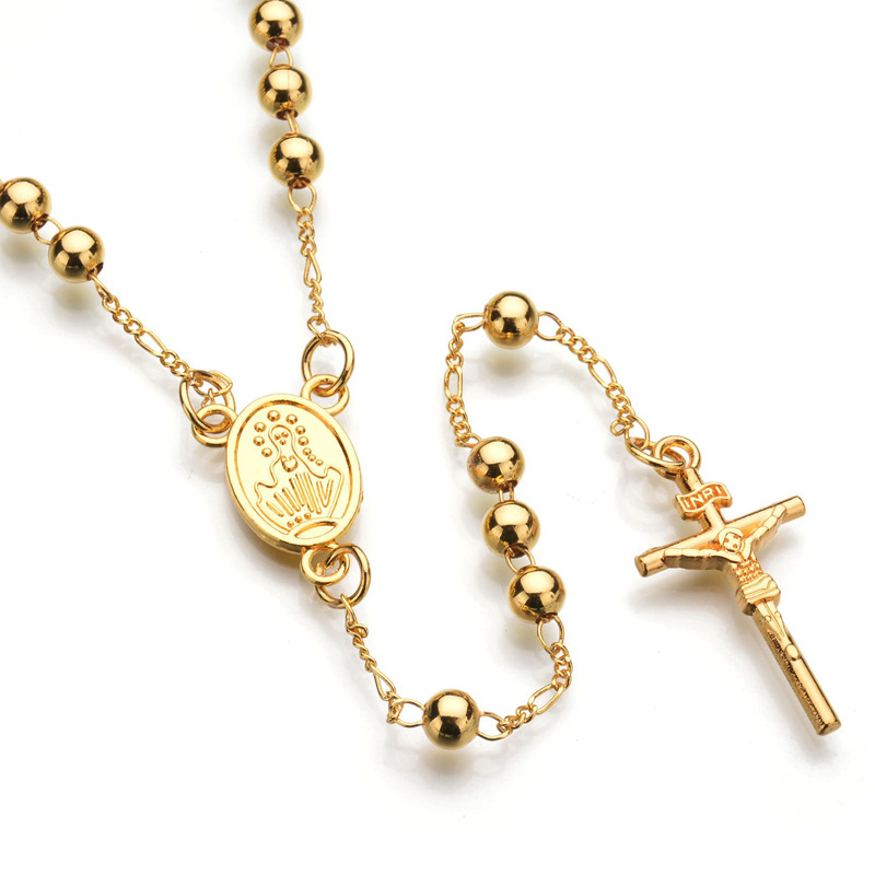 Unisex Rosary Necklace Strand Fake Mary Cross Pendant