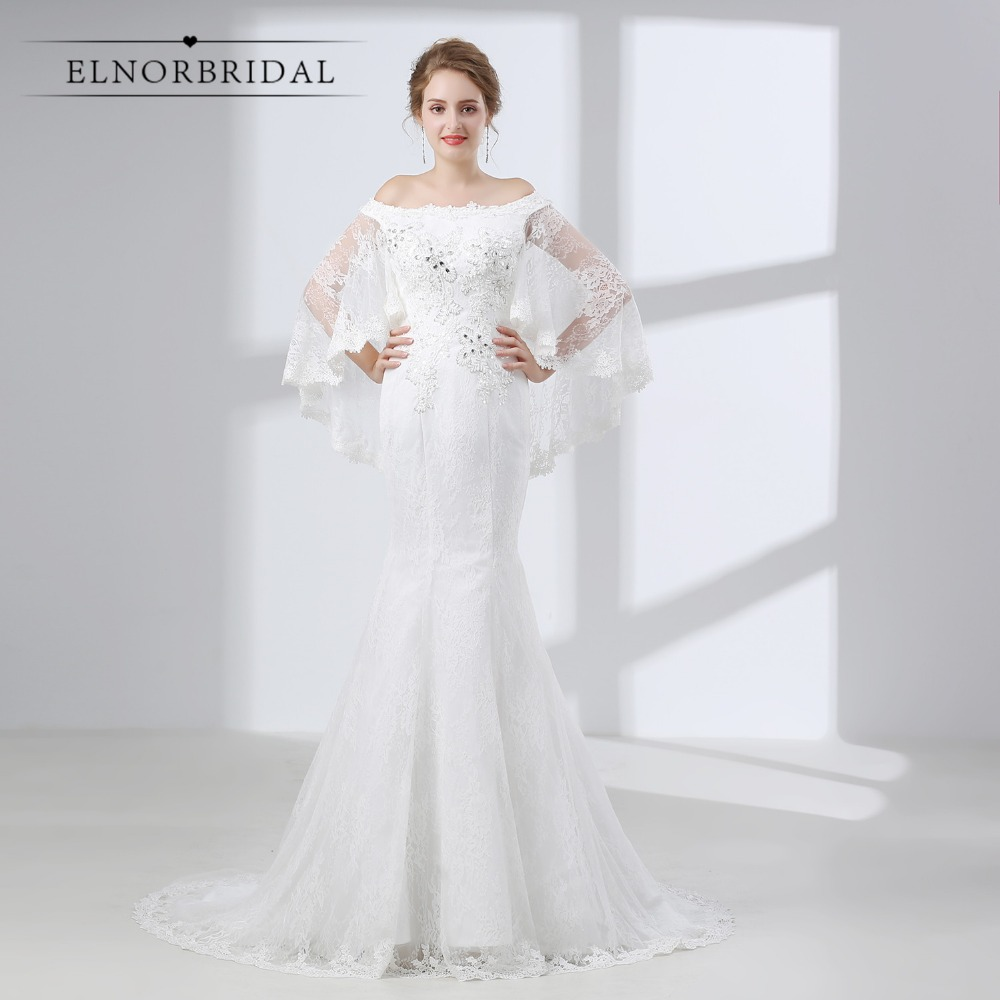 Elnorbridal Mermaid Lace Wedding Dresses 2019 Robe De
