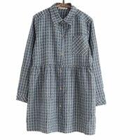 Lange Mouw Overhemd Vrouwen Kleding Mori Meisje Grey Plaid Jurk Vintage Tuniek Vestido Basic Casual Kleding voor Vrouwelijke