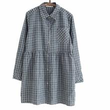 ФОТО 2015 new mori girl plaid shirt dress gray vestido casual woman clothes comfortable long sleeve clothing for female