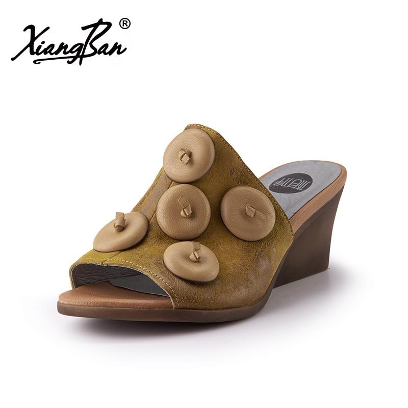 Peep yellow Chaussures Femmes Sandales Pantoufles Cuir 6 Toe Élégantes D'été Talons À Cm Confort Hauts Pantoufle Talon Véritable Épais Femme Green f7qSWwRS