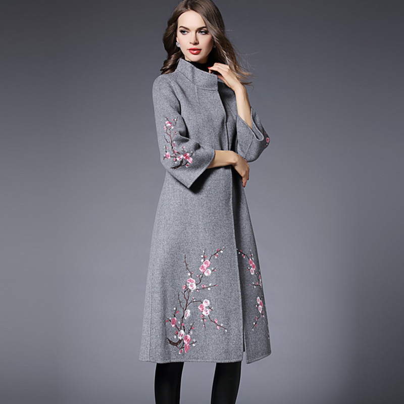 2017 Women Coat Fashion Elegant Embroidered Vintage Clothing Runway Womens Maxi Casual Spring
