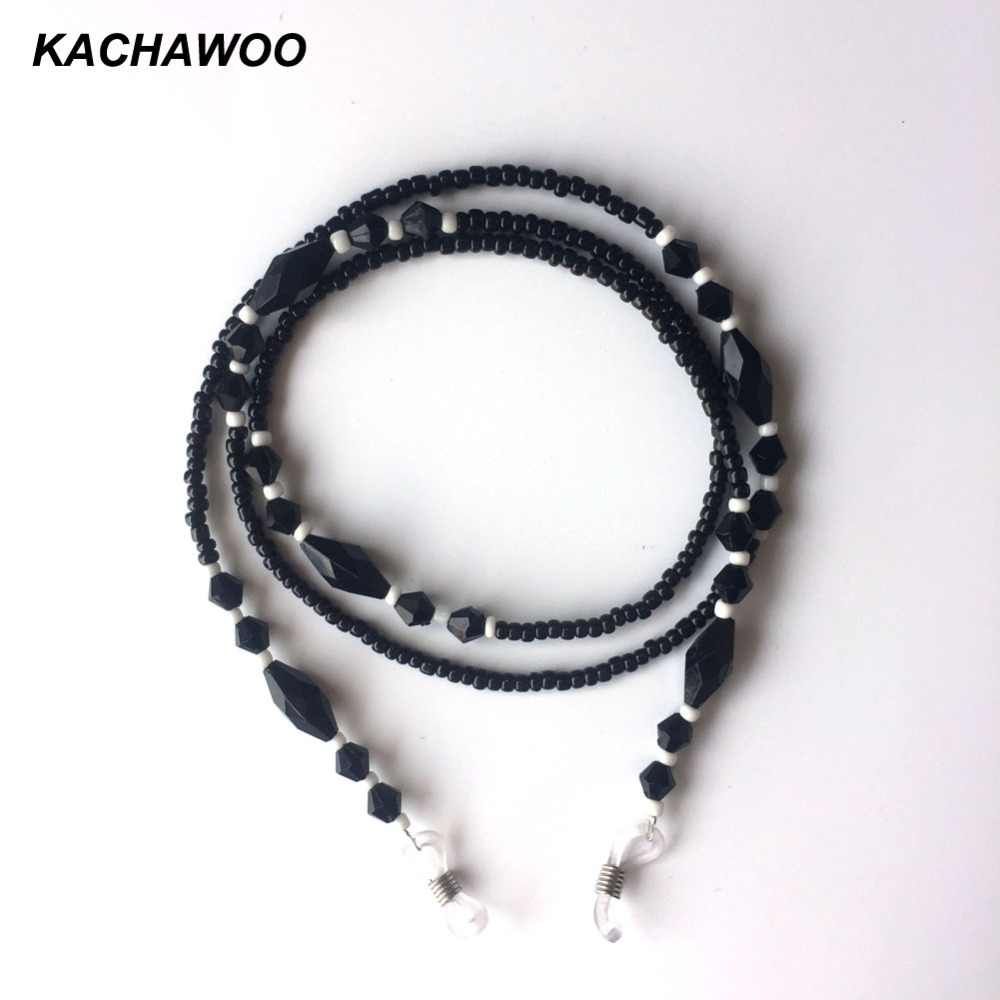 Kachawoo reading eyeglass chain holder black bead women sunglasses neck cord strap for glasses chain wholesale