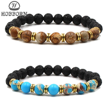 HOBBORN Trendy Natural Stone Men Bracelet Handmade Tiger Eye Map Picture Lava Maix Strand Charm Bracelets Women Jewelry