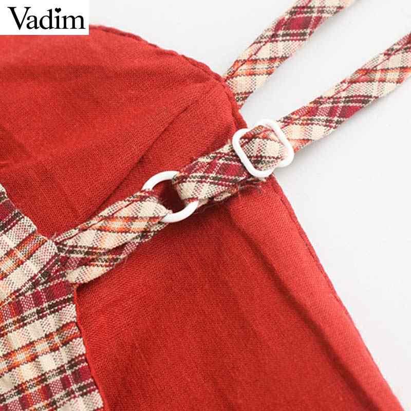 Vadim женское винтажное клетчатое мини-платье с оборками без рукавов с регулируемыми бретелями Женские винтажные летние платья шикарное vestido QC326