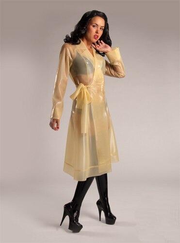 Латекс резиновая наряд прозрачный латекс девушка плащ длинная куртка костюм