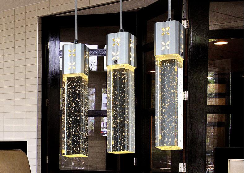 New Modern 3 Head LED Lights Bubble Crystal Column Pendant Lamp Light Lighting Chandeliers FG798