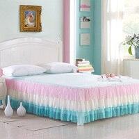 Pink Girls Princess Full Queen size Bed Skirt Bed Sheet Mattress Bed cover set couvre lit colcha de cama