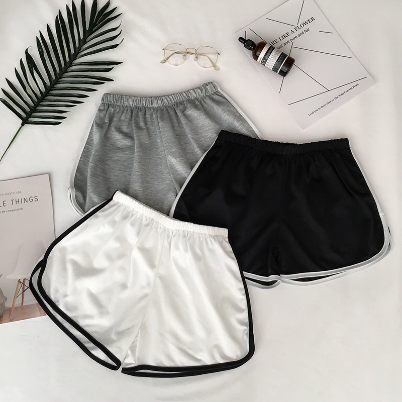 2020 Summer Sexy Skinny Women Yo-Ga Drawstring Cotton Shorts Casual High Contrast Binding Side Split Elastic Waist Shorts Femme