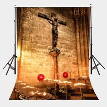 150x220cm Christian Church Interior Scene Backdrop Big Cross Photography Background Flashing Candlelight Backdrops Studio Props 150x220cm early morning scene backdrops istanbul landscape photography background studio props