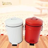 3L/5L Trash Can Kitchen Washroom Household Rubbish Bin Retro Iron Waste Bin Paper Basket Garbage Storage Bucket Cleaning Tool