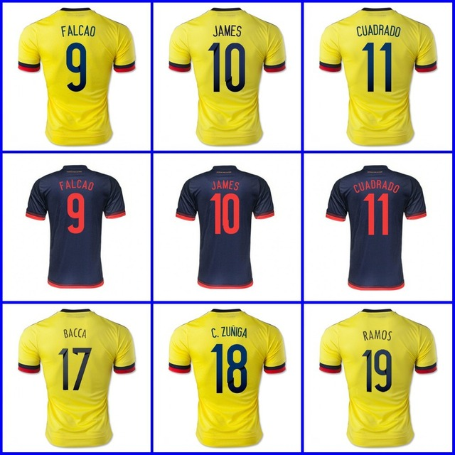 bb8f931d0b3 Best Thai 2015 2016 Colombia soccer jersey home away FALCAO Colombia jersey  JAMES RODRIGUEZ Colombia adult football soccer shirt