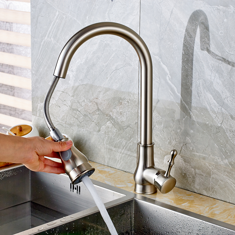 Brushed Nickel Kitchen Faucet Pull Out Kitchen Sink Hot Cold Water Tap Single Lever Stream Sprayer