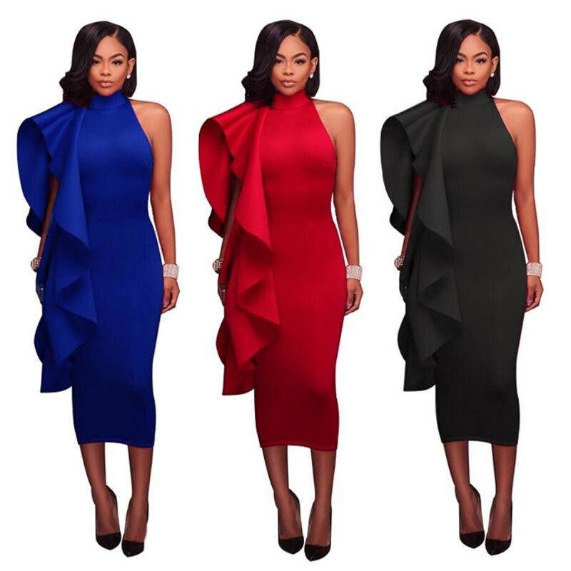 Temperament Commuter Cotton Solid Color Ruffled Wood Ears Irregular A-line Skirt Long Womens Dress Free Shipping