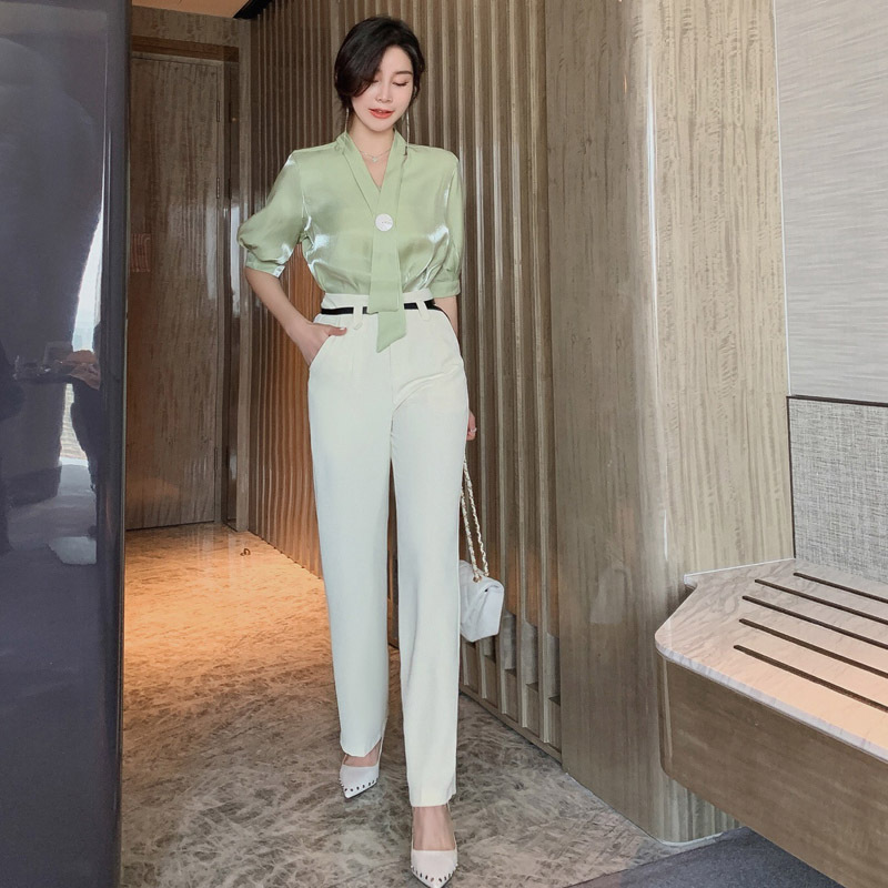 2 Piece Set 2019 Women Summer Green Full Lantern Sleeve Shirt Top and Full Length Pants Work Two Piece Sets Elegant Office Suit
