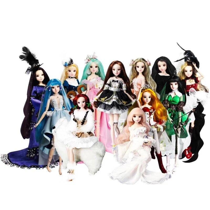 12 constellations poupées BJD poupée avec vêtements chaussures stand 14 corps commun pour fille cadeau